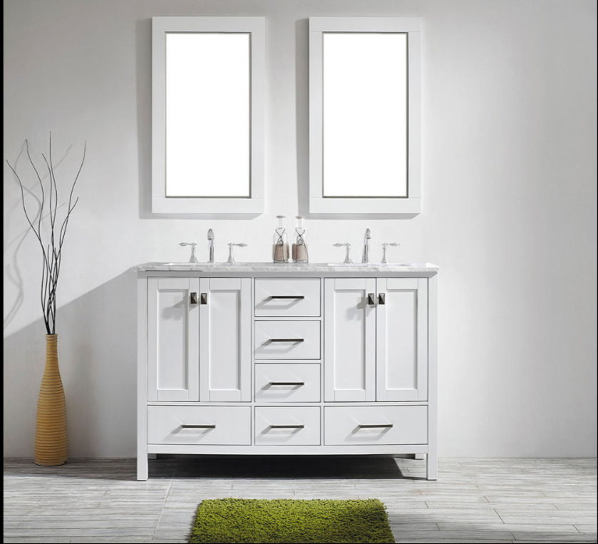 Eviva Aberdeen 60″ White Transitional Double Sink Bathroom Vanity w/ White Carrara Top EVVN412-60WH