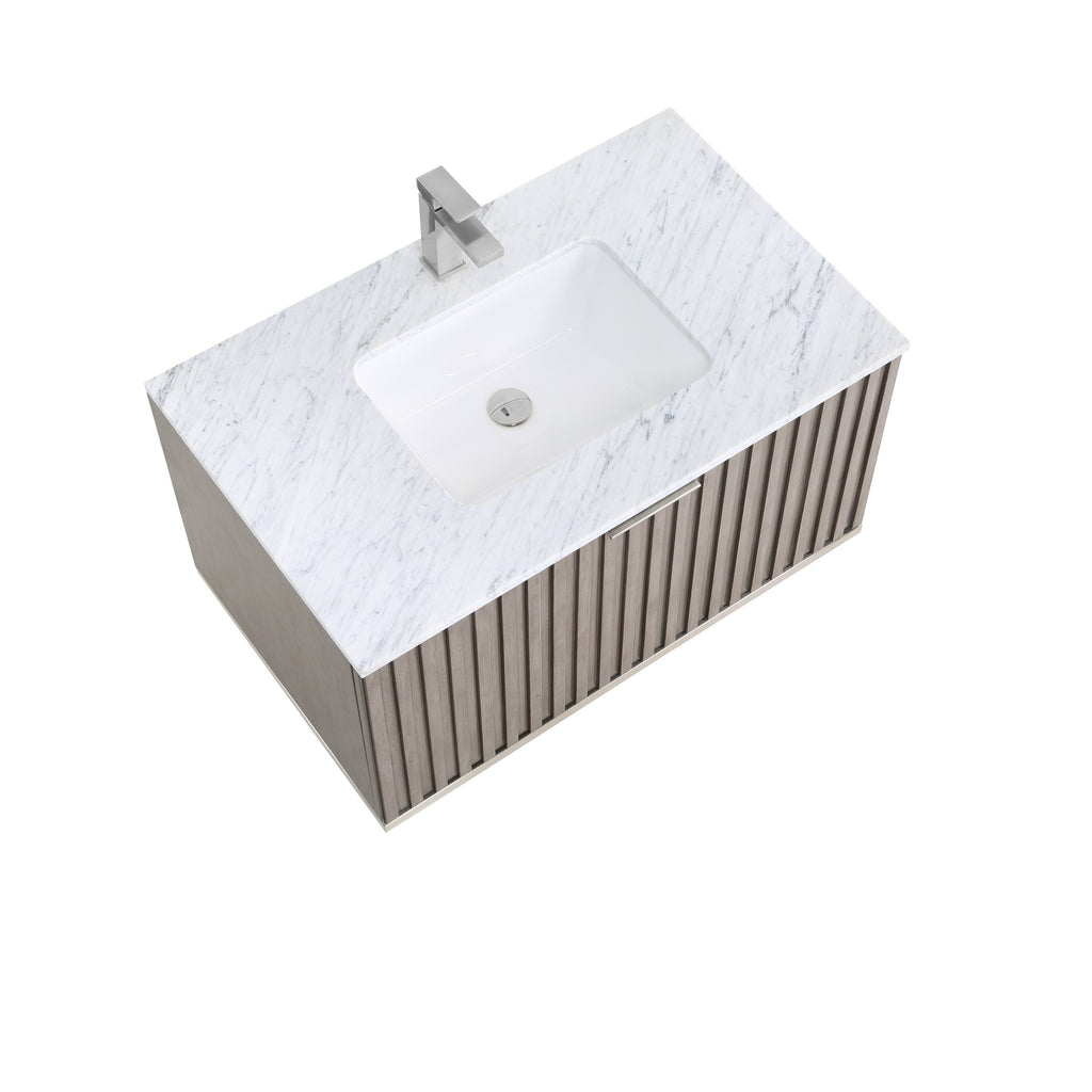 "BemmaDesign Terra 36"" Wallmount Bathroom Vanity, Greywash with Carrara Marble top-V-TR36SWM-01BN-M03S-1"