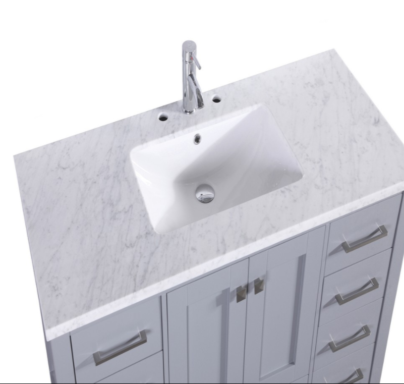 "Eviva Aberdeen 48"" Espresso Transitional Bathroom Vanity w/ White Carrara Top EVVN412-48ES"