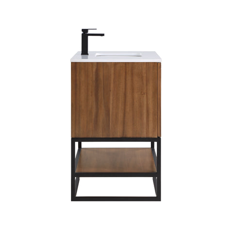 "BemmaDesign Terra 36"" Bathroom Vanity, Walnut and Matte Black with White Granite top V-TR36SFM-05MB-C03S-1"