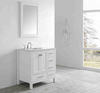 "Image of Eviva Aberdeen 36"" White Transitional Bathroom Vanity w/ White Carrara Top EVVN412-36WH"