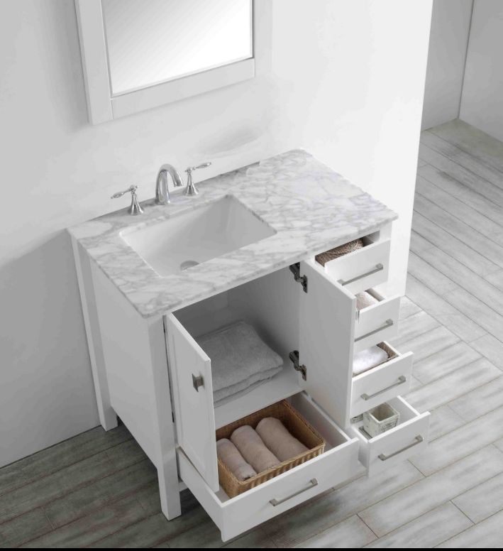 "Eviva Aberdeen 36"" White Transitional Bathroom Vanity w/ White Carrara Top EVVN412-36WH"