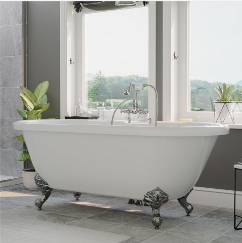 "CAMBRIDGE Plumbing Acrylic Double Ended Clawfoot Bathtub 70"" X 30"" w/ 7"" Deck Mount Faucet Drillings & Complete Polished Chrome Plumbing Package ADE-684D-PKG-CP-7DH"