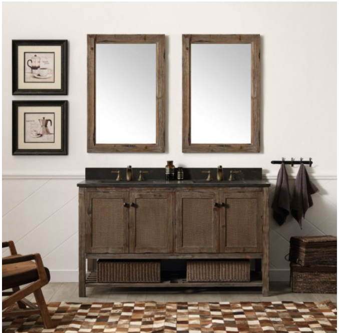 "Legion Furniture 60"" Solid Wood Vanity in Brown with Moon Stone Top, No Faucet WH5160-BR"