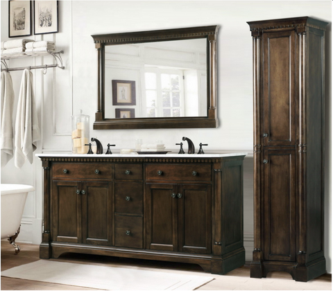 "Legion Furniture 60"" ANTIQUE COFFEE SINK VANITY WITH CARRARA WHITE TOP AND MATCHING BACKSPLASH WITHOUT FAUCET WLF6036-60"""