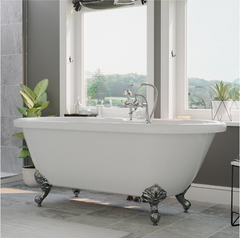 "CAMBRIDGE Plumbing Acrylic Double Ended Clawfoot Bathtub 70"" X 30"" w/ 7"" Deck Mount Faucet Drillings & Complete Polished Chrome Plumbing Package -ADE-463D-6-PKG-CP-7DH"