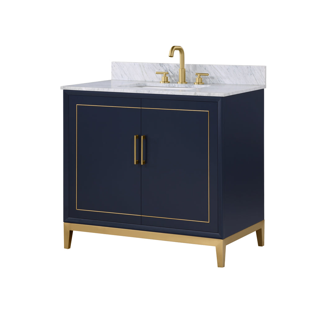 "BemmaDesign Gracie 36"" Bathroom Vanity, Blue with Carrara Marble top V-GR36SFM-02BS-M03S-3"