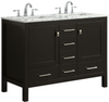 "Image of Eviva Aberdeen 48"" Espresso Transitional Double Sink Bathroom Vanity w/ White Carrara DS-Top EVVN412-48ES"