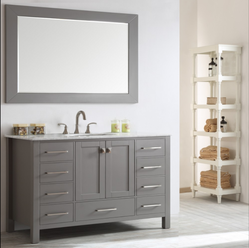 "Eviva Aberdeen 60"" Gray Transitional Single Sink Bathroom Vanity w/ White Carrara SS-Top EVVN412-60GR"