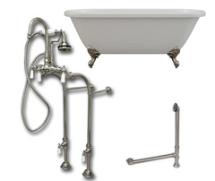 "CAMBRIDGE Plumbing 70 1/4"" Double Ended Clawfoot Bathtub ADE-684D-PKG-BN-7DH"