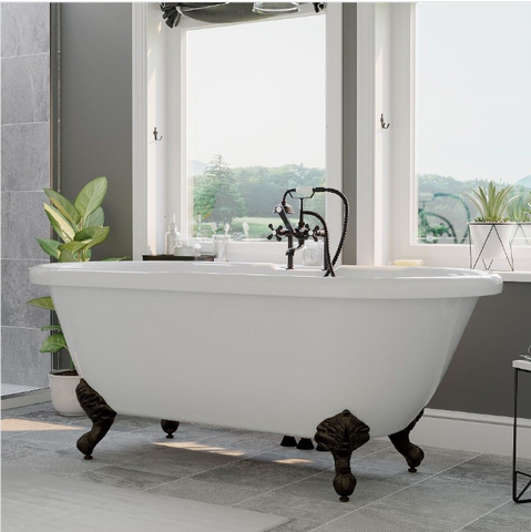 "CAMBRIDGE Plumbing Acrylic Double Ended Clawfoot Bathtub 70"" X 30"" w/ 7"" Deck Mount Faucet Drillings & Complete Oil Rubbed Bronze Plumbing Package ADE-463D-6-PKG-ORB-7DH"