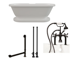 "CAMBRIDGE Plumbing 70"" x  30"" 1/4""Double Ended Clawfoot Bathtub ADE-463D-2-PKG-BN-7DH"