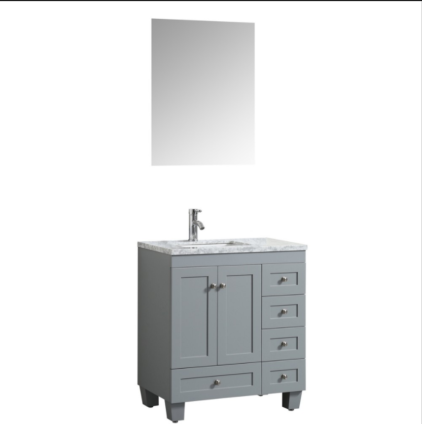 Eviva Happy 28″ x 18″ Gray Transitional Bathroom Vanity w/ White Carrara Top EVVN30-28X18GR