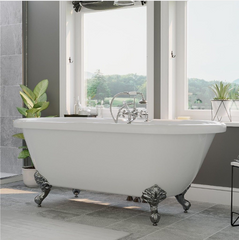 "CAMBRIDGE Plumbing Acrylic Double Ended Clawfoot Bathtub 70"" x 30"" w/ Faucet Drillings & Complete Chrome Plumbing Package - ADE-463D-2-PKG-CP-7DH"