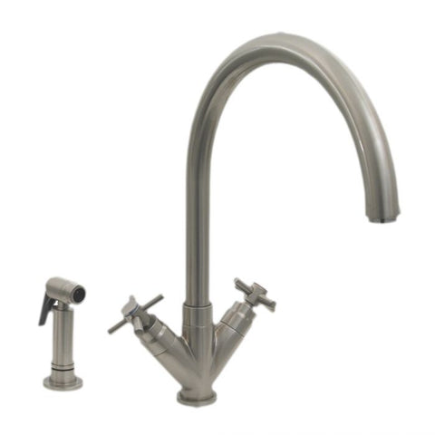Whitehaus Luxe+ Dual Handles with Swivel Spout Kitchen Faucet 3-03942CH85-C