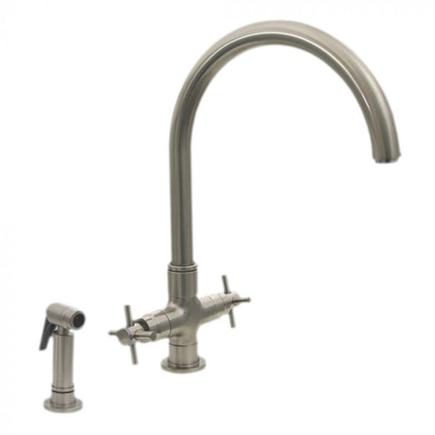 Whitehaus Modern Goose Neck with Side Spray Kitchen Faucet 3-03954CH85-C