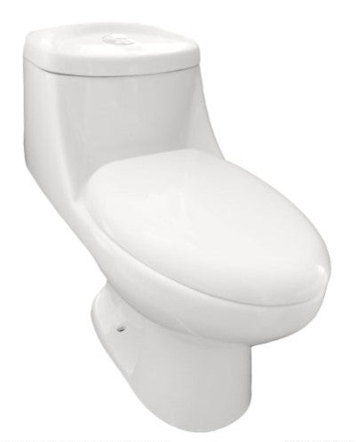 Eviva Sleek Elongated Cotton White One-Piece High Efficiency Toilet w/ Soft Closing Seat EVTL534