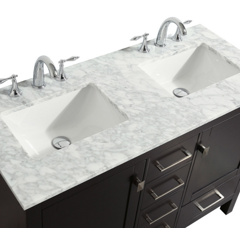 "Eviva Aberdeen 48"" Espresso Transitional Double Sink Bathroom Vanity w/ White Carrara DS-Top EVVN412-48ES"