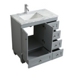 Image of Eviva Happy 28″ x 18″ Gray Transitional Bathroom Vanity w/ White Carrara Top EVVN30-28X18GR