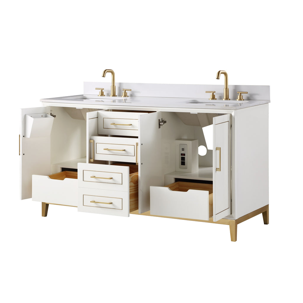"BemmaDesign Gracie 60"" Bathroom Vanity, White with White Granite toV-GR60DFM-03BS-C03S-3p"