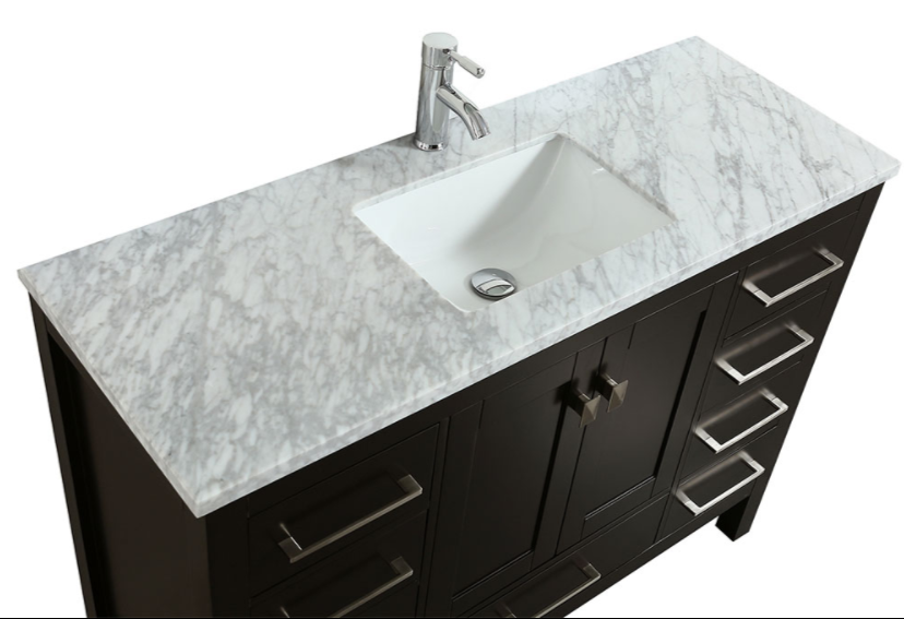 "Eviva Aberdeen 42"" Espresso Transitional Bathroom Vanity w/ White Carrara Top EVVN412-42ES"