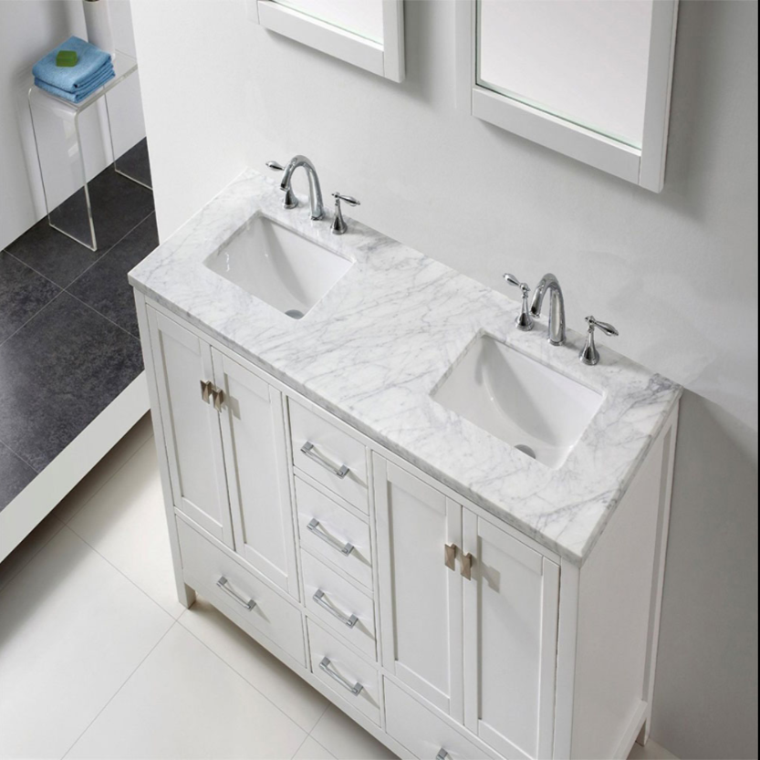 "Eviva Aberdeen 60"" Espresso Transitional Double Sink Bathroom Vanity w/ White Carrara Top EVVN412-60WH"