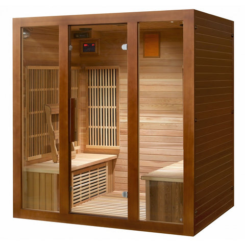 Sunray Roslyn 4 Person Cedar Infrared Sauna w/Carbon Heaters/Side Bench Seating HL400KS