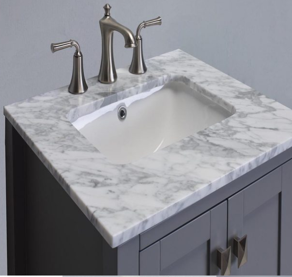 "Eviva Aberdeen 24"" Gray Transitional Bathroom Vanity w/ White Carrara Top EVVN412-24GR"