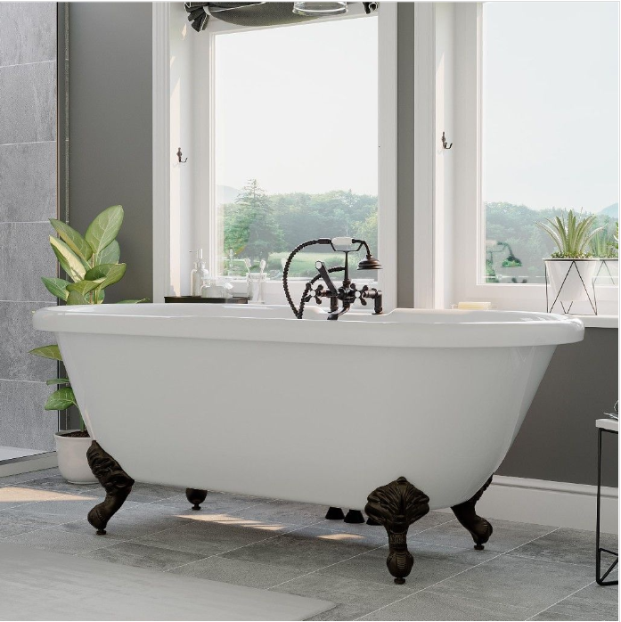 "CAMBRIDGE Plumbing Acrylic Double Ended Clawfoot Bathtub 70"" x  30"" w/ Faucet Drillings & Complete Chrome Plumbing Package -ADE-463D-2-PKG-ORB-7DH"