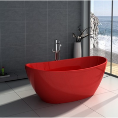 "Legion Furniture 64.2"" Solid Surface Tub - No Faucet in Red Matt WJ8611-R"
