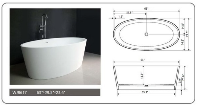 "Legion Furniture 63"" White Matt Solid Surface Tub, No Faucet WJ8617-W"