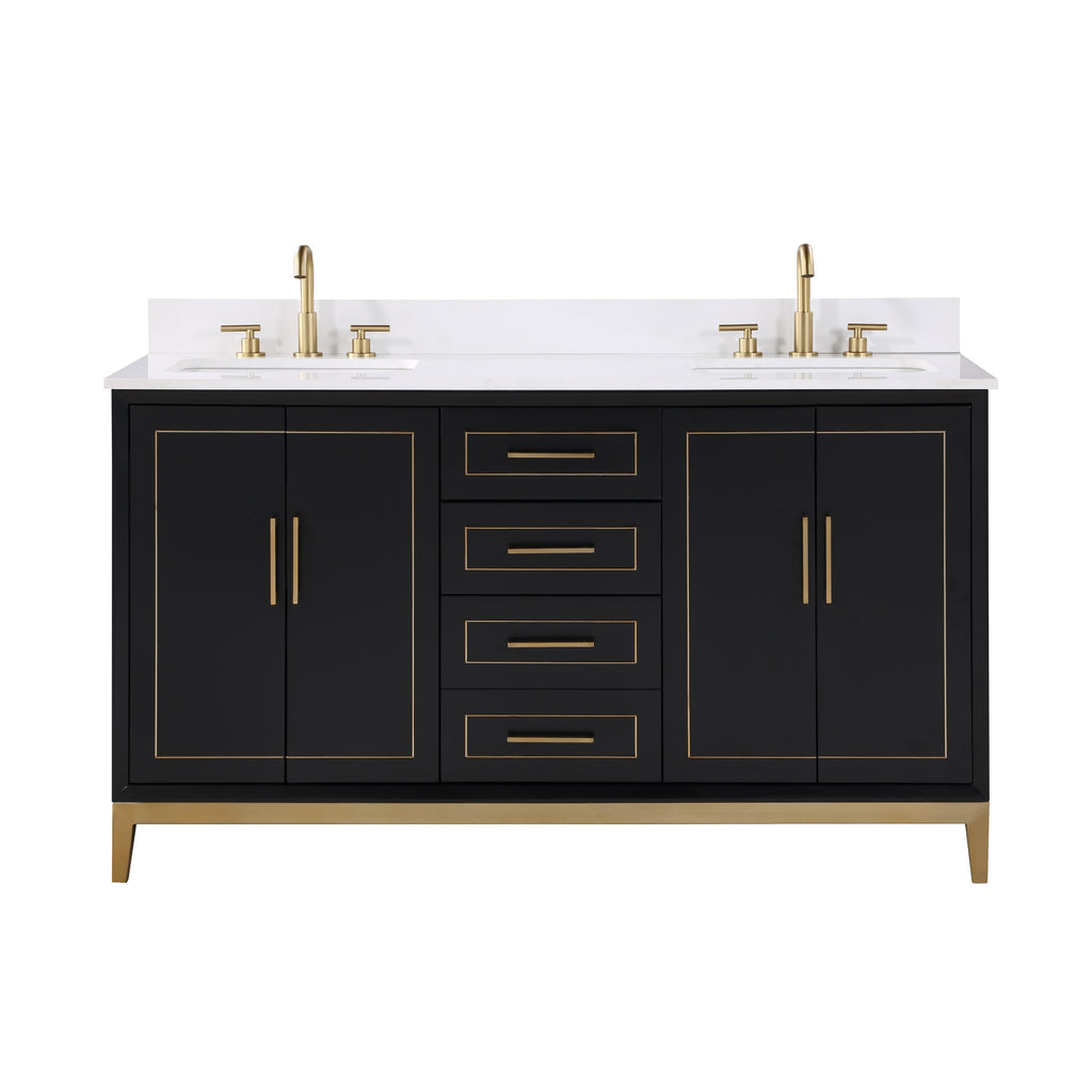 "BemmaDesign 60"" Bathroom Vanity, Black with White Granite top V-GR60DFM-04BSC03S-3"
