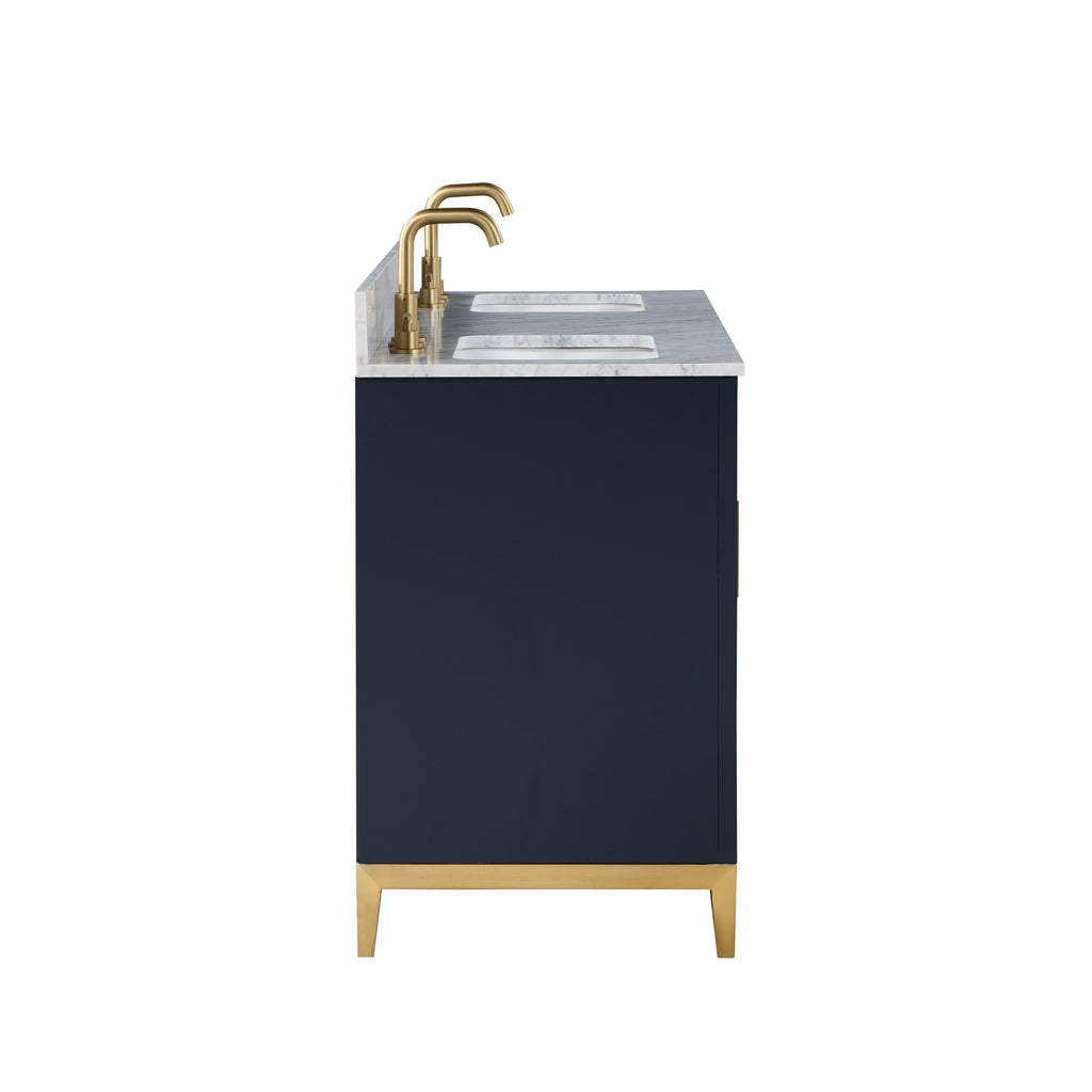 "BemmaDesign Gracie 60"" Bathroom Vanity, Blue with Carrara Marble top V-GR60DFM-02BS-M03S-3"