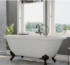 "CAMBRIDGE Plumbing Acrylic Double Ended Clawfoot Bathtub 70"" x  30"" w/ No Faucet Drillings & Complete Oil Rubbed Bronze  Package ADE-398684-PKG-ORB-NH"