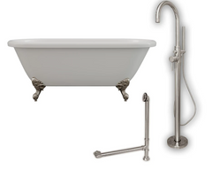 "CAMBRIDGE Plumbing 70 x 30 1/4""Double Ended Clawfoot Bathtub ADE-150-PKG-BN-NH"