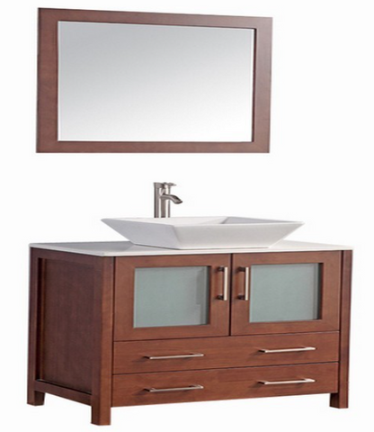"Legion Furniture 24"" Solid Wood Vanity Set with Mirror in Cherry, No Faucet WA7824C"