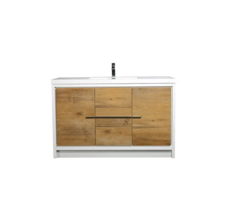 "Eviva Grace 60"" Natural Oak/White Single Sink Bathroom Vanity w/ White Integrated Top EVVN765-60NOK-WH-SS"