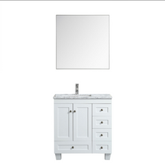 Eviva Happy 28″ x 18″ White Transitional Bathroom Vanity w/ White Carrara Top EVVN30-28X18WH