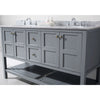"Image of Virtu USA Winterfell 60"" Double Bathroom Vanity Set ED-30060-WMRO"
