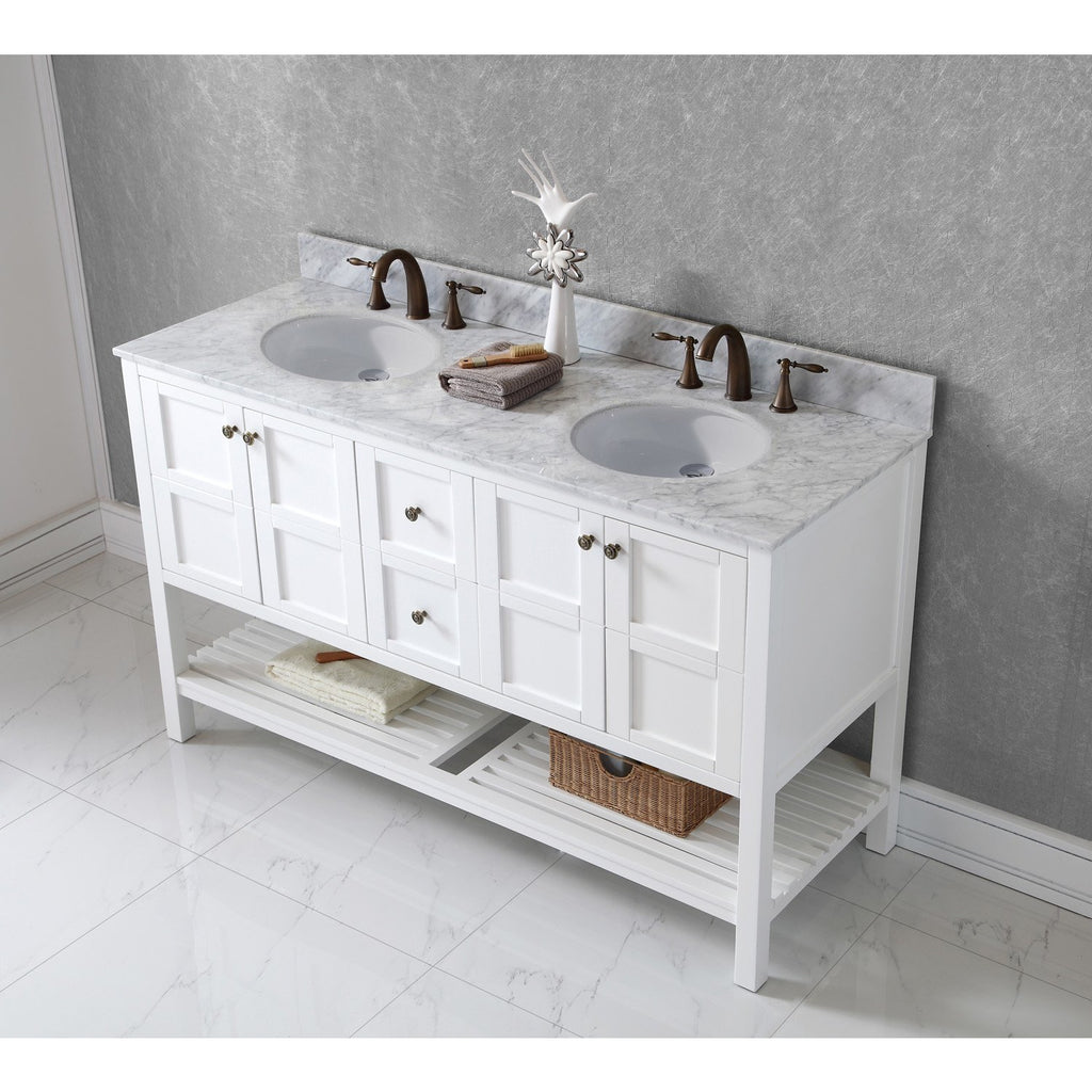 "Virtu USA Winterfell 60"" Double Bathroom Vanity Set ED-30060-WMRO"