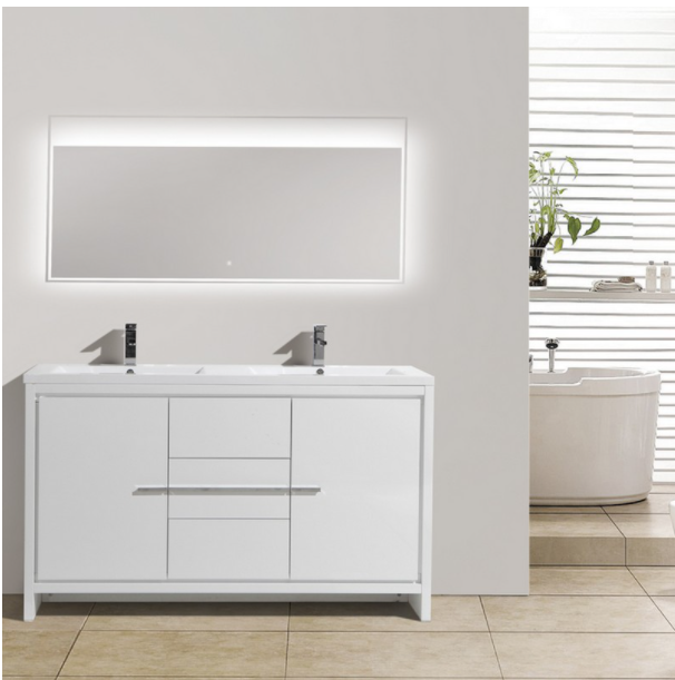 "Eviva Grace 60"" Glossy White Double Sink Bathroom Vanity w/ White Integrated Top EVVN765-60WH-DS"