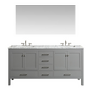 Image of Eviva Aberdeen 72″ Gray Transitional Double Sink Bathroom Vanity w/ White Carrara Top EVVN412-72GR