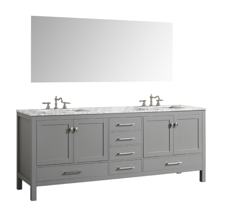 Eviva Aberdeen 72″ Gray Transitional Double Sink Bathroom Vanity w/ White Carrara Top EVVN412-72GR