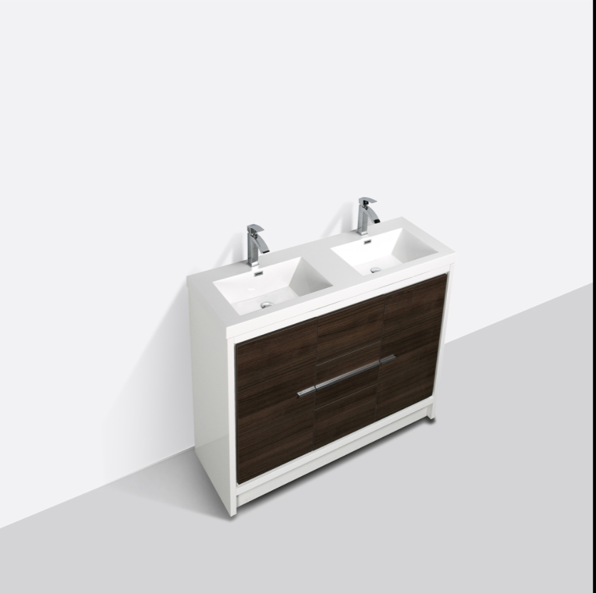 "Eviva Grace 60"" Gray Oak/White Double Sink Bathroom Vanity w/ White Integrated Top EVVN765-60GOK-WH-DS"