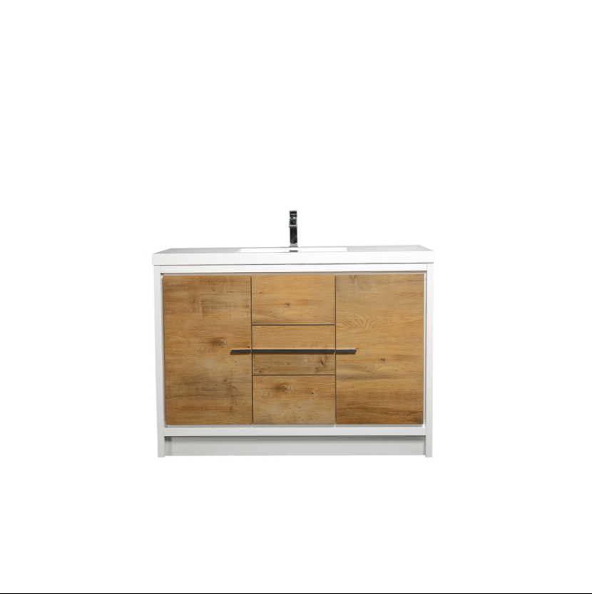 "Eviva Grace 48"" Natural Oak/White Bathroom Vanity w/ White Integrated Top EVVN765-48NOK-WH"
