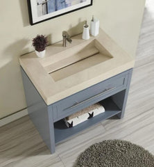Silkroad Exclusive  36-inch Crema Marfil Marble Top Single Sink Bathroom Vanity - C01036GC_T0136CRC