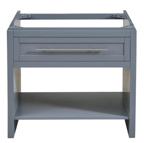"Silkroad Exclusive 36"" Single Sink Gray Cabinet Only Bathroom Vanity - Without Top- C01036GC"