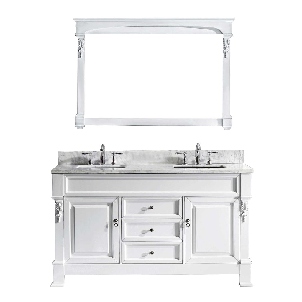 "Virtu USA Huntshire 60"" Single/Double Bathroom Vanity Set GD-4060-WMSQ"