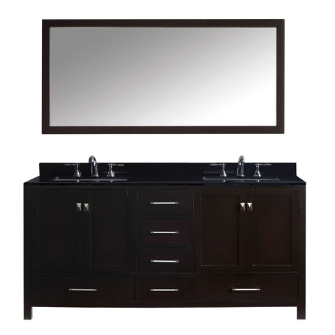 "Virtu USA Caroline Avenue 72"" Double Bathroom Vanity Set GD-50072-BGSQ"