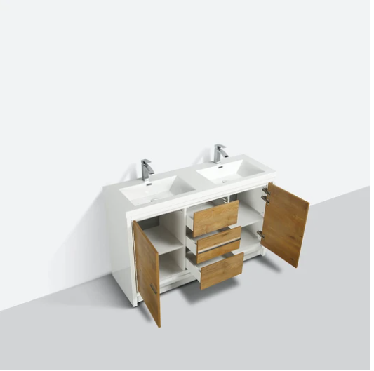 "Eviva Grace 60"" Natural Oak/White Double Sink Bathroom Vanity w/ White Integrated Top  EVVN765-60GOK-WH-DS"
